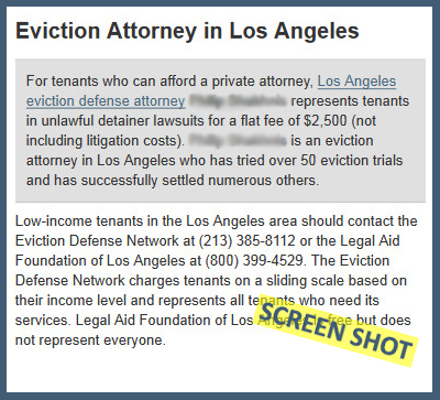 Screen Shot From a Local LA Tenant Lawyer's Website